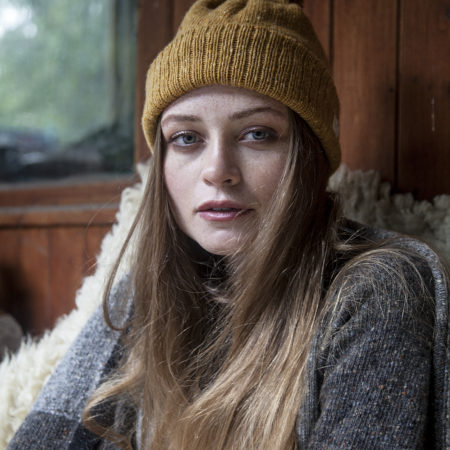 LA Knitwear Ethically made Merino wool mustard Hat and jumper