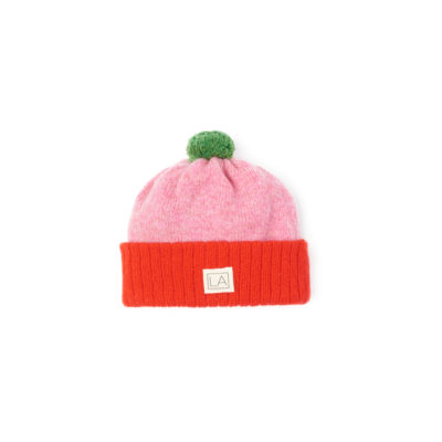 Red Pink Lambswool hat ethical unisex Ireland Handmade
