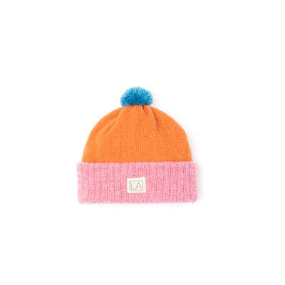 kids hat Pink Orange Blue Beanie Sustainable irish design handmade