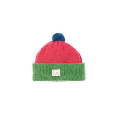 Kids wool hat green pink ethical