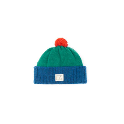 Blue green red childrens wool beanie cosy soft