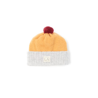 Grey Mustard Yellow baby hat soft cosy sustainable ethical
