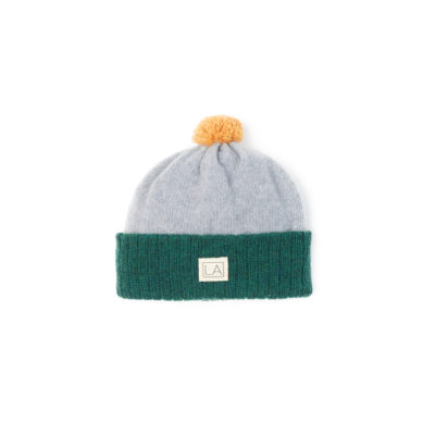 Grey green kiddys wool hat ecobaby sustainable irish design