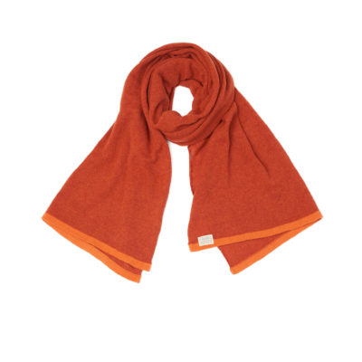 Orange scarf lambswool Slow movement Burnt Orange Rust wool handmade