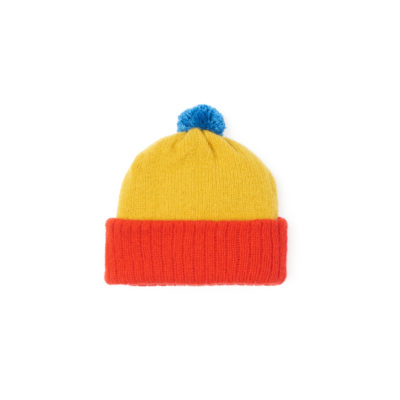 Yellow red hat soft wool sustainably made in Ireland