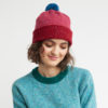 merino wool beanie red pink blue warm cosy Irish yarn