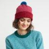 merino wool beanie red pink blue warm cosy Irish yarn