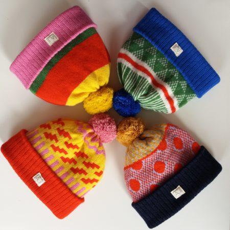 Liadain Aiken lambswool patterned hats irish eco knitwear