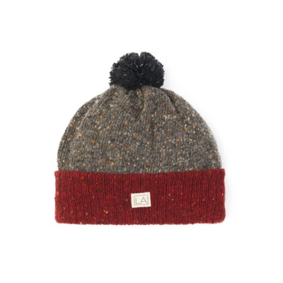 Sustainable wool hat red dark grey black Liadain Aiken
