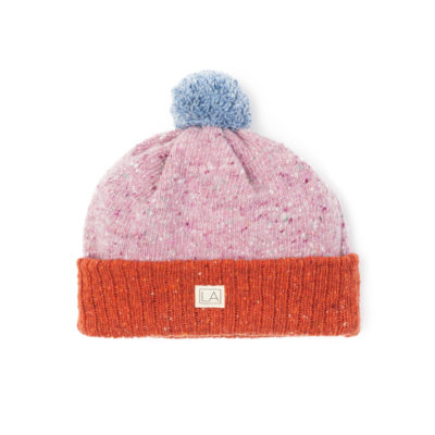 Pink heather sky blue and orange hat lambswool unisex ethical irish knitwear handcrafted