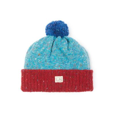 flecked wool bright red light turquoise bright blue made in ireland unisex handmade