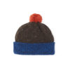 Beanie hat Blue Orange Brown bobble ethical irish design handmade unisex