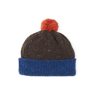 Brown ethical beanie hat Blue Orange