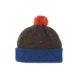 Brown ethical beanie hat Blue Orange