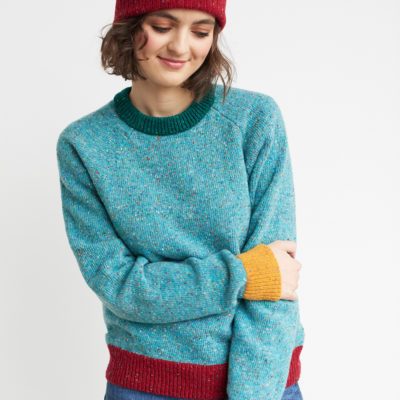 raglan merino pullover neat turquoise multi red orange mustard green unisex flecked wool irish design handcrafted
