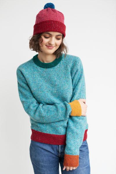 raglan merino pullover neat turquoise multi red orange mustard green unisex flecked wool irish design handcrafted
