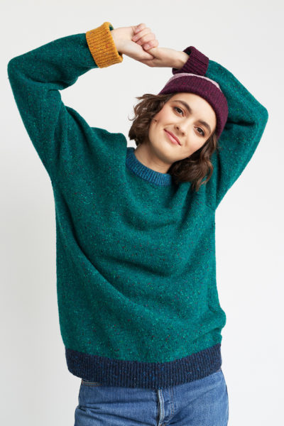 Raglan pullover green multi blue yellow wine flecked merino unisex sustainable irish knitwear