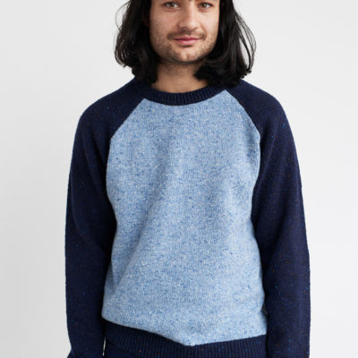raglan sweater blue irish yarn handmade irish knitwear unisex