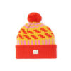 Beanie wool zig zag red bright yellow pink ethical handmade ireland unisex