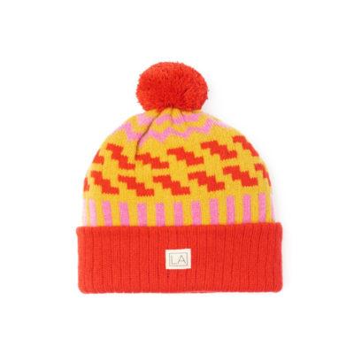 Beanie wool zig zag red bright yellow pink ethical handmade ireland unisex