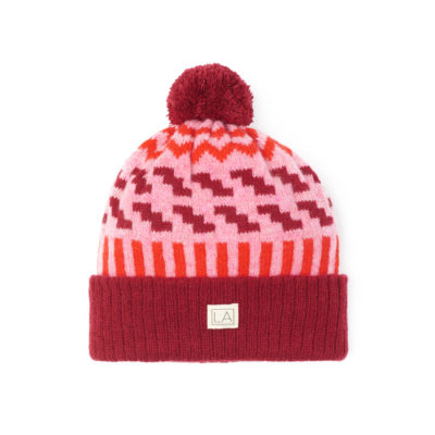 zig zag radish soft pink red bobble sustainable unisex irish design handcrafted
