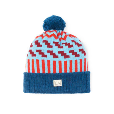zig zag neptune blue red beanie bobble thical unisex made in Ireland handmade