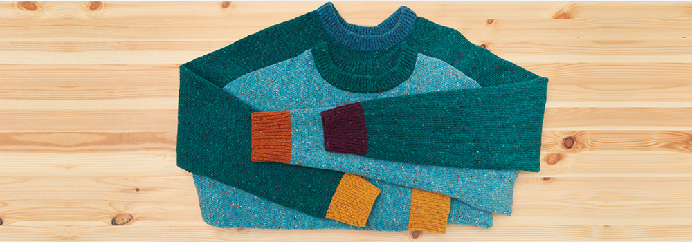 merino raglan jumper blue multi turmeric wine mustard green flecked wool cosy irish design