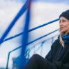 Blue on blue Teal Neckerchief sustainable handmade in ireland